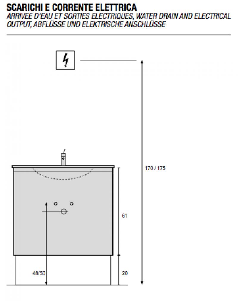 La veneta termosanitaria s r l monoblocco venezia con cassetti e piano resina by gb group - Misure scarichi bagno ...