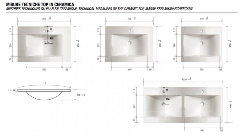 dimensione lavabo bagno: composizione cedda mobile da bagno con ... - Dimensioni Lavelli Cucina