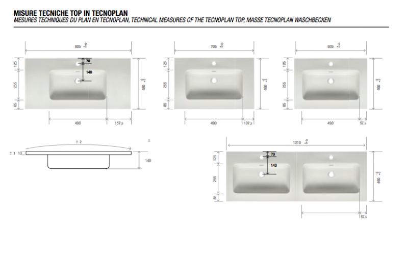 La veneta termosanitaria s r l composizioni complete uniq con cassetti e piano in resina - Misure lavabo bagno ...
