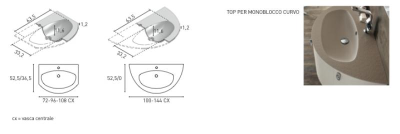 La veneta termosanitaria s.r.l.     linee curve con piano lavabo ...